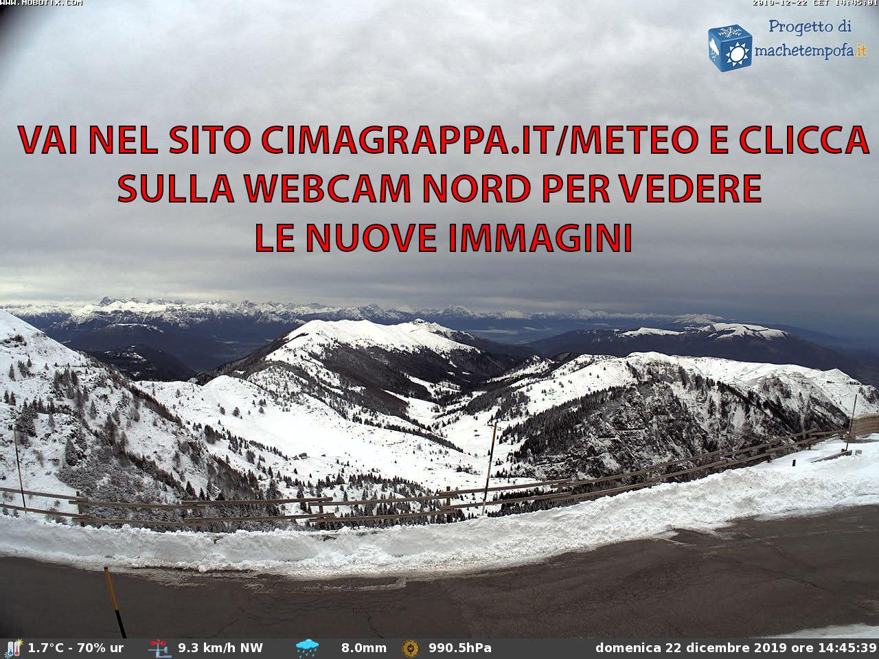 Meteo Webcam Cima Grappa nord posizionata sul Rifugio Bassano a 1745m slm